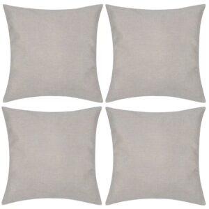 Capas de almofada estilo linho 4 pcs 50 x 50 cm bege - PORTES GRÁTIS
