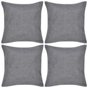 Capas de almofada estilo linho 4 pcs 80 x 80 cm antracite - PORTES GRÁTIS
