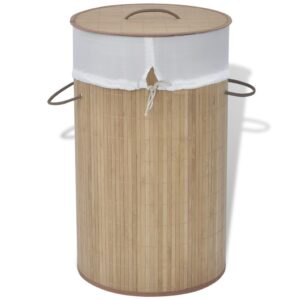 Cesto redondo para roupa suja bambu natural - PORTES GRÁTIS