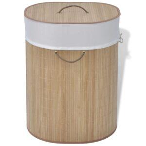 Cesto oval para roupa suja bambu natural - PORTES GRÁTIS