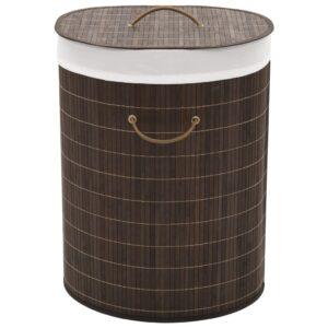 Cesto oval para roupa suja bambu castanho escuro - PORTES GRÁTIS