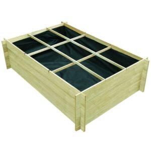 Plantador de madeira impregnado 150 x 100 x 40 cm - PORTES GRÁTIS
