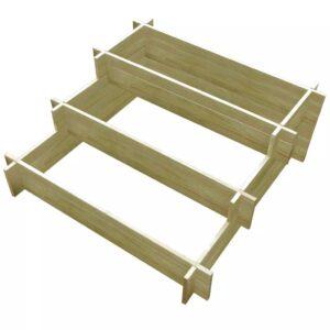Vaso/caixa de madeira 3 níveis madeira impregnada 90x90x35 cm - PORTES GRÁTIS