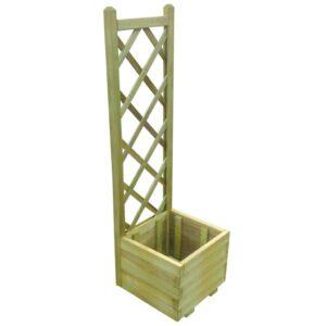 Plantador de madeira impregnada com grade 40 x 40 x 135 cm  - PORTES GRÁTIS
