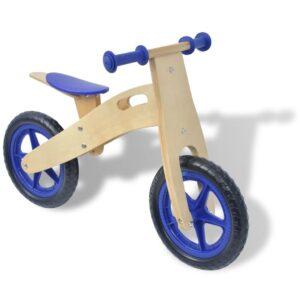 Bicicleta de equilíbrio em madeira azul - PORTES GRÁTIS