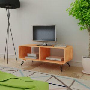 Mesa de apoio para TV em madeira, 90 x 39 x 38,5 cm, castanho - PORTES GRÁTIS