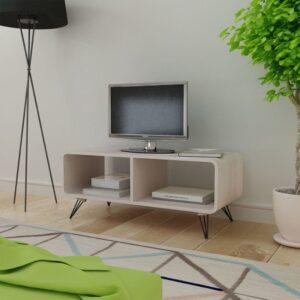 Mesa de apoio para TV em madeira, 90 x 39 x 38,5 cm, cinzento - PORTES GRÁTIS