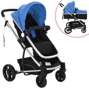 Carrinho de bebé/berço 2 em 1 alumínio azul e preto - PORTES GRÁTIS