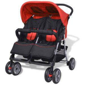 Carrinho de bebé para gémeos aço vermelho e preto - PORTES GRÁTIS