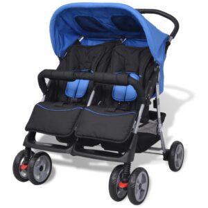 Carrinho de bebé para gémeos em aço azul e preto - PORTES GRÁTIS