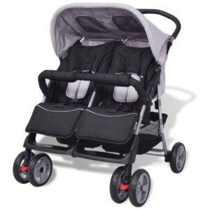 Carrinho de bebé para gémeos, aço cinzento e preto - PORTES GRÁTIS