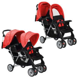 Carrinho de bebé paralelo em aço, vermelho e preto - PORTES GRÁTIS