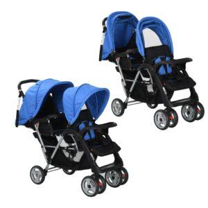 Carrinho de bebé paralelo em aço, azul e preto  - PORTES GRÁTIS