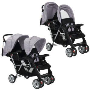 Carrinho de bebé paralelo em aço cinzento e preto  - PORTES GRÁTIS