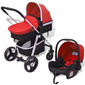 Carrinho de bebé 3 em 1 alumínio vermelho e preto - PORTES GRÁTIS