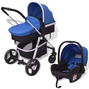 Carrinho de bebé 3 em 1 alumínio azul e preto - PORTES GRÁTIS