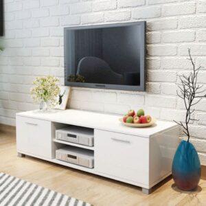Móvel de TV em alto brilho branco 120 x 40,3 x 34,7 cm - PORTES GRÁTIS