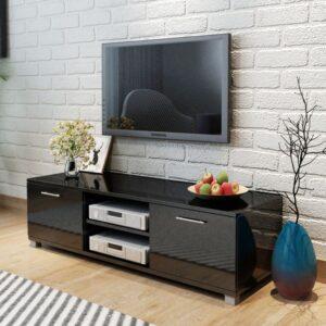 Móvel de TV em alto brilho preto 120 x 40,3 x 34,7 cm - PORTES GRÁTIS