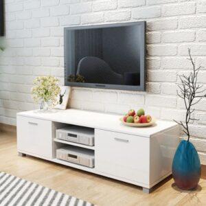 Móvel de TV em alto brilho 140 x 40,3 x 34,7 cm branco - PORTES GRÁTIS