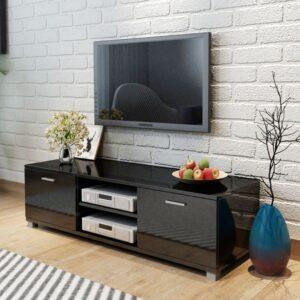 Móvel de TV em alto brilho preto 140 x 40,3 x 34,7 cm - PORTES GRÁTIS
