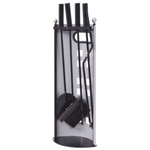 Conjunto ferramentas lareira em ferro cinco peças - PORTES GRÁTIS