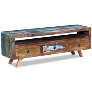 Móvel de TV com 3 gavetas, madeira reciclada sólida - PORTES GRÁTIS