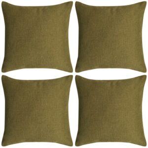 Capa de almofada 4 pcs aspeto linho verde 40x40 cm - PORTES GRÁTIS