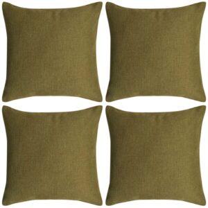 Capa almofada 4 pcs, aspeto linho, verde 50x50 cm - PORTES GRÁTIS