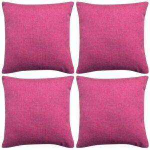 Capa de almofada 4 pcs aspeto de linho rosa 50x50 cm - PORTES GRÁTIS
