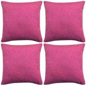 Capa de almofada 4 pcs aspeto de linho 80x80 cm rosa - PORTES GRÁTIS