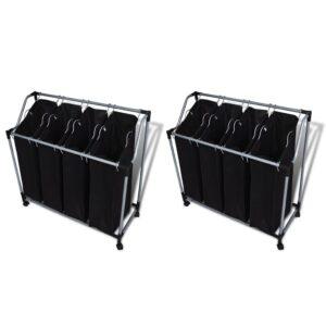 Separadores de roupa suja com sacos 2 pcs preto e cinzento - PORTES GRÁTIS