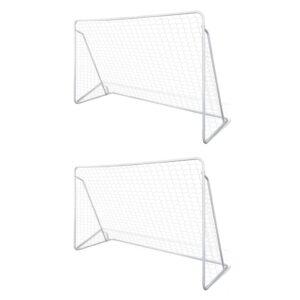 Balizas de futebol com redes 2 pcs aço 240x90x150 cm - PORTES GRÁTIS