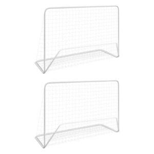 Balizas de futebol com redes 2 pcs aço 182x61x122 cm aço branco - PORTES GRÁTIS