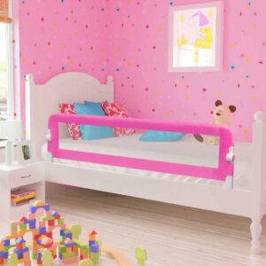Barra de segurança para cama de criança 2 pcs 150x42 cm rosa - PORTES GRÁTIS
