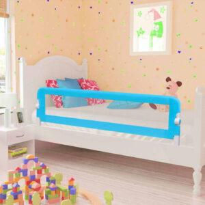 Barra de segurança para cama de criança 2 pcs 150x42 cm azul - PORTES GRÁTIS