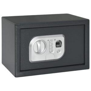 Cofre digital com impressão digital cinzento escuro 31x20x20 cm - PORTES GRÁTIS