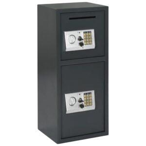 Cofre digital com porta dupla cinzento escuro 35x31x80 cm - PORTES GRÁTIS