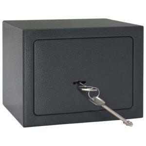 Cofre mecânico cinzento-escuro 23x17x17 cm aço  - PORTES GRÁTIS