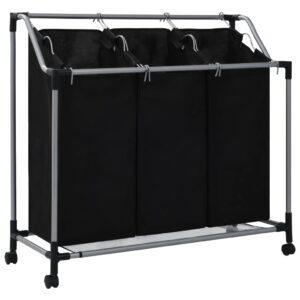 Separador de roupa suja com 3 sacos aço preto - PORTES GRÁTIS