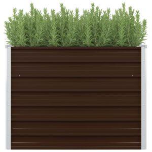Canteiro jardim elevado 100x100x77cm aço galvanizado castanho - PORTES GRÁTIS