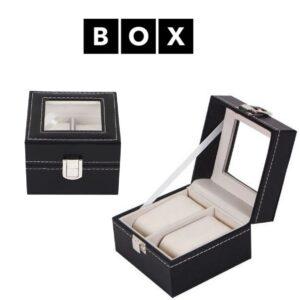 Caixa de Arrumação para 2 Relógios  | Acabamento Premium | Pele Sintética | Fechadura Com Chave | PD14