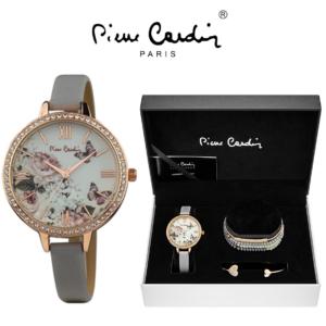 Conjunto Pierre Cardin® Relógio   5 Pulseiras   Rosa Gold Flowers