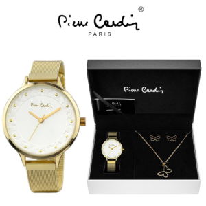 Conjunto Pierre Cardin® Relógio | Colar | 2 Brincos | Golden Butterfly