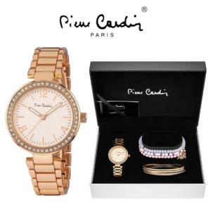 Conjunto Pierre Cardin® Relógio   7 Pulseiras   Rosa Gold Stones