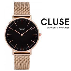Relógio Cluse® La Boheme Mesh Black/Rose gold | 38MM