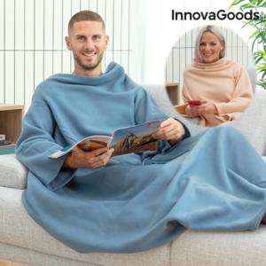 Cobertor com Mangas Individual com Bolso Central | Azul ou Beje