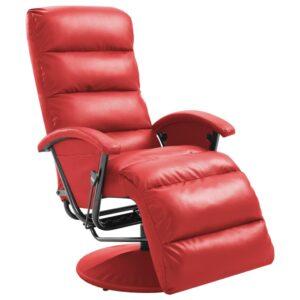 Poltrona de TV reclinável em couro sintético vermelho - PORTES GRÁTIS