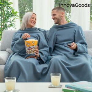 Cobertor com Mangas Duplo com Bolso Central | Azul ou Beje