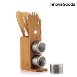 Conjunto Magnético de Frascos para Especiarias em Bambu | 7 Peças