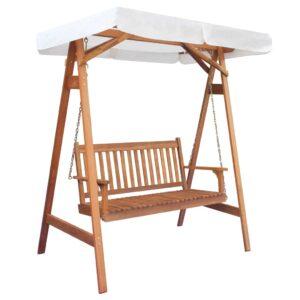 Cadeira baloiço de jardim c/ toldo, madeira eucalipto e acácia - PORTES GRÁTIS